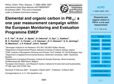 Elemental and Organic Carbon in Pm10: a ... by Yttri, K. E.