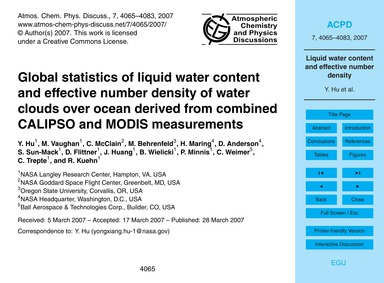 Global Statistics of Liquid Water Conten... by Hu, Y.
