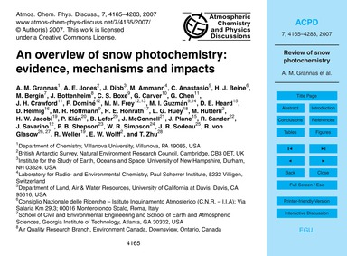 An Overview of Snow Photochemistry: Evid... by Grannas, A. M.