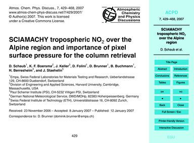 Sciamachy Tropospheric No2 Over the Alpi... by Schaub, D.