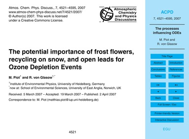 The Potential Importance of Frost Flower... by Piot, M.