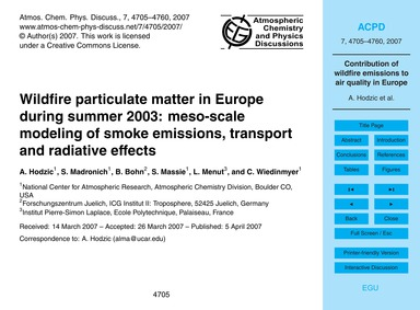 Wildfire Particulate Matter in Europe Du... by Hodzic, A.