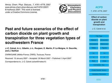 Past and Future Scenarios of the Effect ... by Calvet, J.-c.