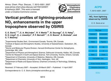 Vertical Profiles of Lightning-produced ... by Sioris, C. E.