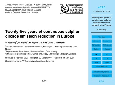 Twenty-five Years of Continuous Sulphur ... by Vestreng, V.