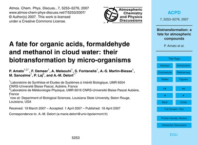 A Fate for Organic Acids, Formaldehyde a... by Amato, P.