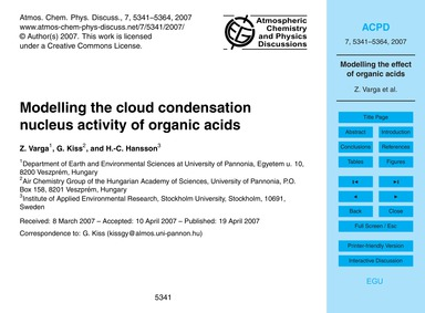 Modelling the Cloud Condensation Nucleus... by Varga, Z.