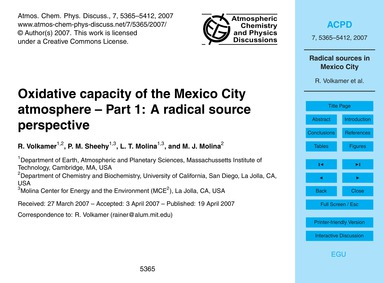 Oxidative Capacity of the Mexico City At... by Volkamer, R.