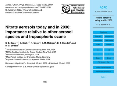 Nitrate Aerosols Today and in 2030: Impo... by Bauer, S. E.