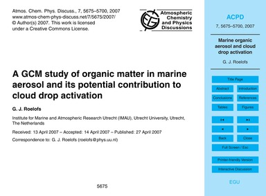 A Gcm Study of Organic Matter in Marine ... by Roelofs, G. J.