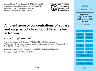 Ambient Aerosol Concentrations of Sugars... by Yttri, K. E.