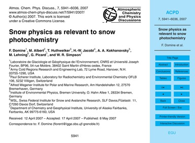 Snow Physics as Relevant to Snow Photoch... by Domine, F.