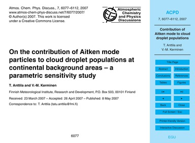 On the Contribution of Aitken Mode Parti... by Anttila, T.