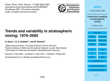 Trends and Variability in Stratospheric ... by Garny, H.