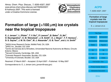 Formation of Large (≃100 Μm) Ice Crystal... by Jensen, E. J.