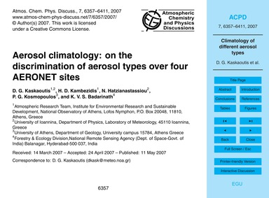 Aerosol Climatology: on the Discriminati... by Kaskaoutis, D. G.