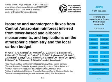 Isoprene and Monoterpene Fluxes from Cen... by Kuhn, U.