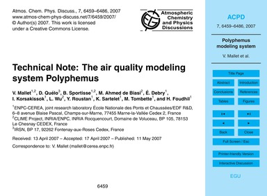 Technical Note: the Air Quality Modeling... by Mallet, V.
