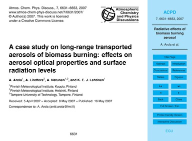 A Case Study on Long-range Transported A... by Arola, A.