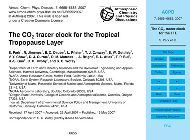 The Co2 Tracer Clock for the Tropical Tr... by Park, S.