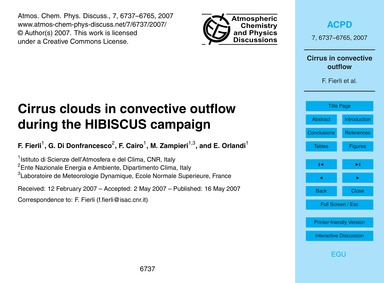 Cirrus Clouds in Convective Outflow Duri... by Fierli, F.