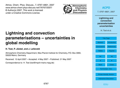 Lightning and Convection Parameterisatio... by Tost, H.