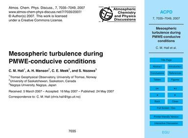 Mesospheric Turbulence During Pmwe-condu... by Hall, C. M.