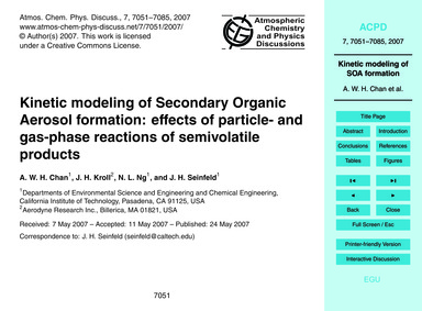 Kinetic Modeling of Secondary Organic Ae... by Chan, A. W. H.