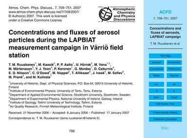Concentrations and Fluxes of Aerosol Par... by Ruuskanen, T. M.