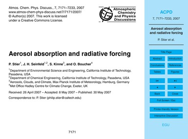 Aerosol Absorption and Radiative Forcing... by Stier, P.