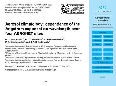 Aerosol Climatology: Dependence of the A... by Kaskaoutis, D. G.
