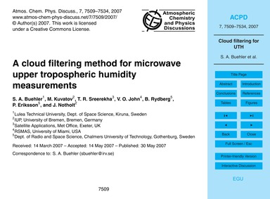 A Cloud Filtering Method for Microwave U... by Buehler, S. A.