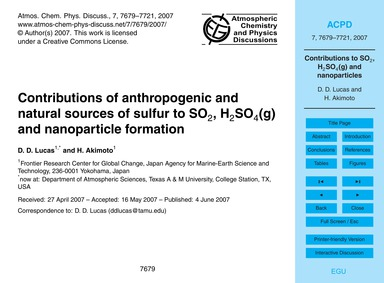 Contributions of Anthropogenic and Natur... by Lucas, D. D.