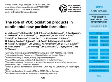 The Role of Voc Oxidation Products in Co... by Laaksonen, A.