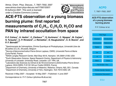 Ace-fts Observation of a Young Biomass B... by Coheur, P.-f.