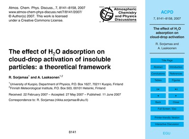 The Effect of H2O Adsorption on Cloud-dr... by Sorjamaa, R.