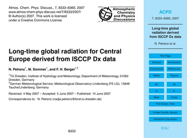 Long-time Global Radiation for Central E... by Petrenz, N.