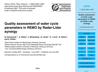 Quality Assessment of Water Cycle Parame... by Hennemuth, B.