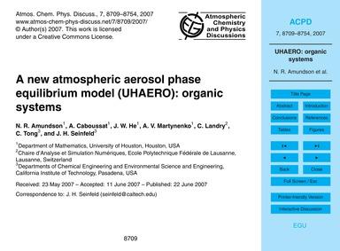 A New Atmospheric Aerosol Phase Equilibr... by Amundson, N. R.