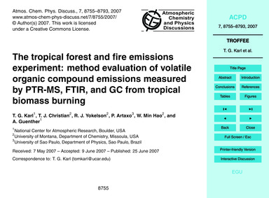 The Tropical Forest and Fire Emissions E... by Karl, T. G.