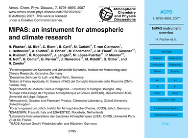 Mipas: an Instrument for Atmospheric and... by Fischer, H.