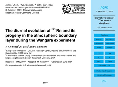 The Diurnal Evolution of 222Rn and Its P... by Vinuesa, J.-f.