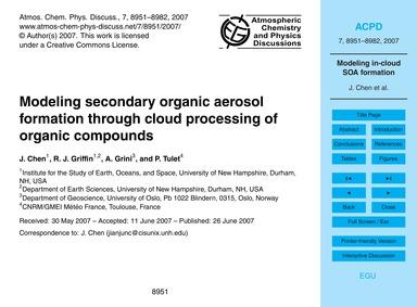 Modeling Secondary Organic Aerosol Forma... by Chen, J.