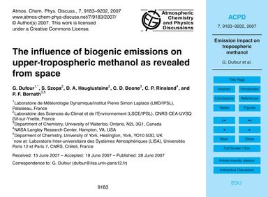 The Influence of Biogenic Emissions on U... by Dufour, G.