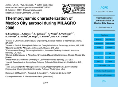 Thermodynamic Characterization of Mexico... by Fountoukis, C.