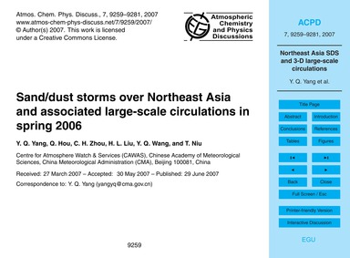 Sand/Dust Storms Over Northeast Asia and... by Yang, Y. Q.