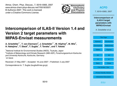 Intercomparison of Ilas-ii Version 1.4 a... by Griesfeller, A.