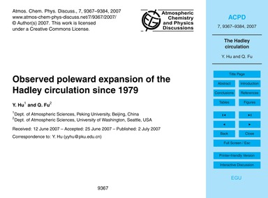 Observed Poleward Expansion of the Hadle... by Hu, Y.
