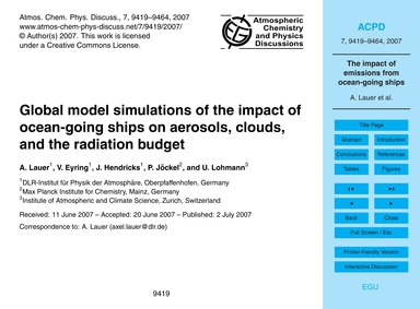 Global Model Simulations of the Impact o... by Lauer, A.