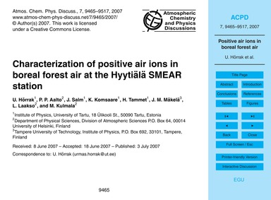 Characterization of Positive Air Ions in... by Hõrrak, U.